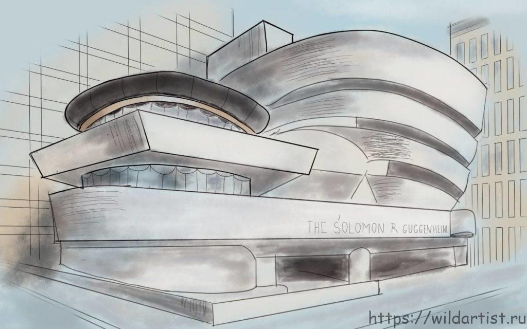 рисунок Музея Гуггенхайма на планшете