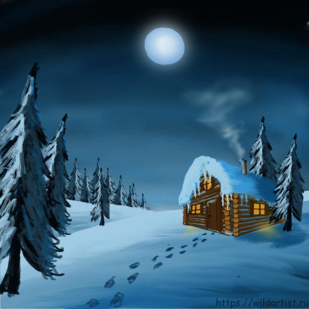 зимний пейзаж - рисунок